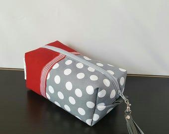 Polka Dot Makeup Bag - Gray Red Makeup Bag - Make up Bag - Cosmetic Bag - Makeup Organizer - Makeup Storage - Makeup Case - Toiletry Bag