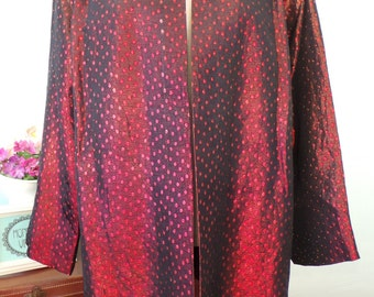 50s 60s Ruby Red Metallic Spot Long Line Jacket, Vintage Duster Evening Coat, by Lachasse London, Large