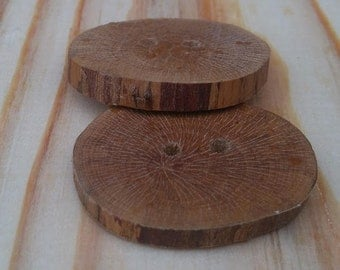 Wooden buttons. Tree branch buttons. Two buttons of Hawthorn.