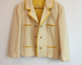 1960's nubby Cream Jacket with Yellow Detailing