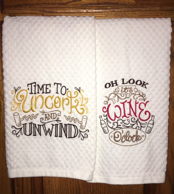 Pair of embroidered kitchen dish towels wine lover family