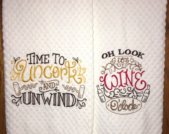 Pair of embroidered kitchen dish towels - wine lover family home decor kitchen decoration tea towel birthday present funny gift for her