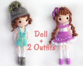 Mimi | Doll with 2 outfits | PDF Crochet Pattern | Instant Download | Amigurumi Doll