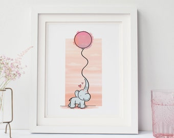 "Children's Elephant and Balloon Print 8"" x 10"", Nursery Art, Nursery Decor"