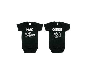 Mac and Cheese Twin Baby Onesies| Twinset Baby Onesies| Bestfriends Baby Onesies| Macaronni and Cheese Twin Onesie| Set of Two Twin Onesies