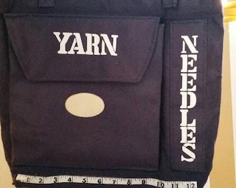 Lovely handmade knitting tote bag - vtg