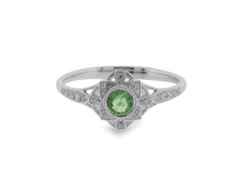 Deco Style Emerald Gemstone and Diamond Ring 18ct White Gold   Art Deco Inspired Engagement Ring (3618013)