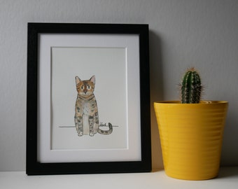 "Custom Pet Portrait. Cat Illustration. Pet Portrait, Cat Art. Custom Dog Portrait. Quirky Cat Portrait. 10"" x 8"""