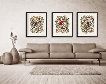 Birds Print, Animal Poster, Art Poster, poster wall art, Office Decor, Home Decor Print BSQset