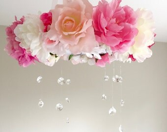 Flower Mobile, Floral Mobile, Baby Mobile, Crib Mobile, Flower Baby, Baby Flower Mobile, Mobile Baby, Flower Chandelier, Crystal Chandelier