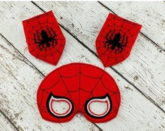 Spider Mask and Cuff Set - Party Favor - Halloween Costume - Dress up - Pretend Play