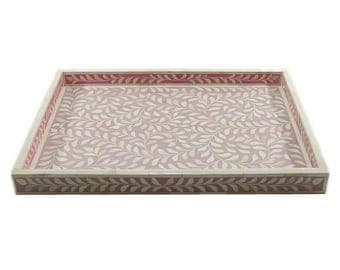 Bone Inlay Floral Pink Decorative Tray, Ottoman Tray, Coffee Table Tray (Available in 4 sizes)