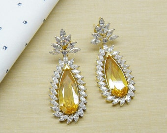 Gift For Her - Glitter Diamond Earrings- Gold Plated - You Pick Your Colors - Wedding Earrings - Mothers Day