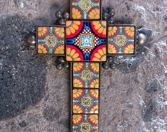 Vintage look cross traditional Mexican beep gold flower n blue design ceramic tile in a metal setting rustic design southwest decor