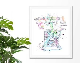 Vintage Telephone  1 Watercolor Art Print,Poster, Wall Art, Home Decor, Office Wall Art, College Wall Art