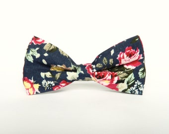 Navy blue floral bow tie floral Pre-tied bow tie gift for men wedding navy blue floral bow tie groomsmen