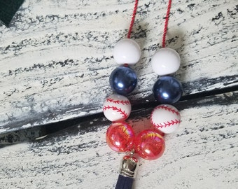 Tassel Ball Chain Necklace,Chunky Bead Necklace,MLB Fan,Baseball Mom,Chicago Cubs,Los Angeles Angels,Baseball Beads,Tassel Necklace,Blue,Red