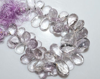 """Natural Pink Amethyst Faceted Pear Shape Beads - Pink Amethyst Pear Shape Briolette , 14x10 - 20x13.5 mm , 7.5"""" , BL1493"""