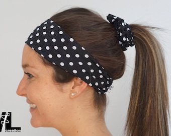 Headband for hair with polka dots (black or blue)