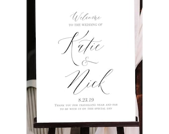 Modern Minimalist Wedding Welcome Sign, Classic White, Customized with Your Wedding Details! (Printable)