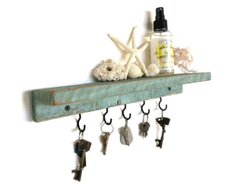Beach House Floating Shelf - key holder key hook shelf key hanger key hook rack floating shelves wall shelf wood shelf entryway organizer