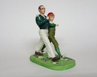 """Norman Rockwell Porcelain Figure of Couple Hiking Series ll Danbury Mint """"Spring"""" Hand Painted Vintage"""