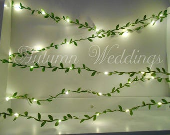 Green Leaves Fairy Lights 2-10m String Lights / Garland - Wedding Decorations - Battery Operated Indoor Bedroom Weddings Wedding Decor Leaf