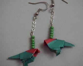Origami parrot earrings