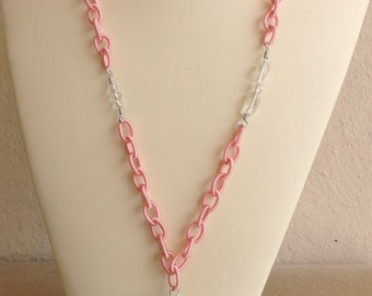 Pink and Sparkly silver Necklace