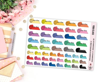Yoga Mats || 49 Planner Stickers, Yoga Stickers, Planner Decor, Item Planner Stickers, Item Stickers, Yoga Planner Stickers