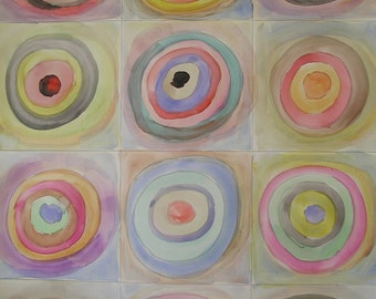 Midcentury Modern Art Circles Painting Inspired by Kandinsky 24x18 Water Media. concentric circles. Pastel Colors. 20th Midcentury Style.