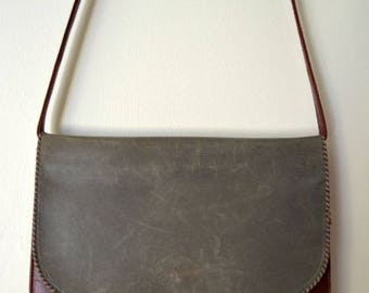 Vintage Bally Leather Grey Burgundy Shoulder Bag