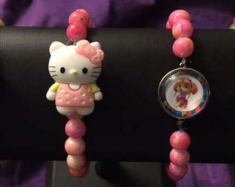 New Beaded Kids Snap Bracelets with 18mm Interchangeable Snaps = Fits small wrists