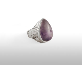 Law textured and Amethyst silver ring