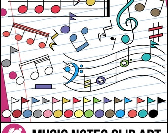 Cute Music Note Clipart, Accurate Music Notation Clip Art for Instant Download
