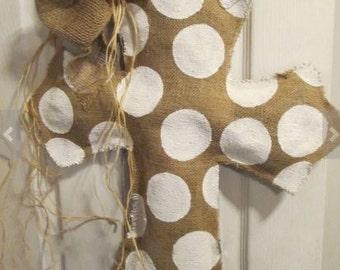 Chevron & Polka Dot Burlap Cross Door Hanger