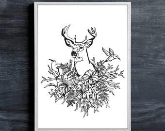 Woodland Buck Print, Original Pen and Ink Illustration