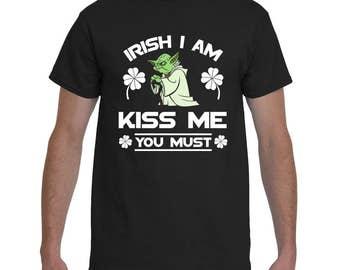St. Patrick's Day Men's t-shirt, Yoda, Irish I Am Kiss Me You Must, Ladies t-shirt is available, Gildan 2000 Men's T-Shirt