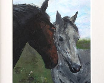 "Horses Acrylic Painting 7x9.5"" with A5 aperture mount"