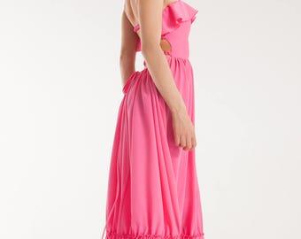 Pink Maxi Backless High Waisted Dress | Pink Summer dress