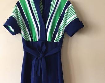 Vintage 1970's Strait Lane Green and Navy Blue Jumpsuit Size Medium