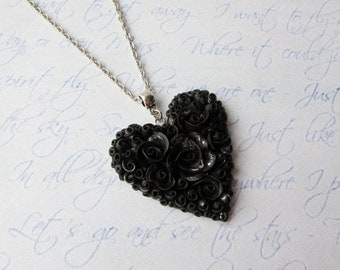 Heart necklace Black heart pendant Polymer clay heart necklace Jewelry handmade Black and silver necklace Black flower necklace