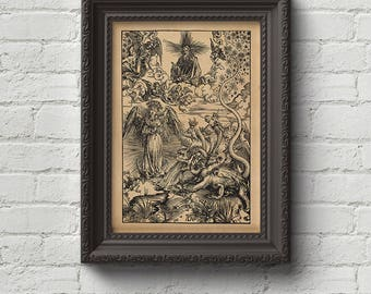 The Woman and the 7 Headed Dragon - The Apocalypse - Albrecht Durer Print, Wall Art, Woodcut, Engraving, Gustave Dore, Dürer, Cute Gift