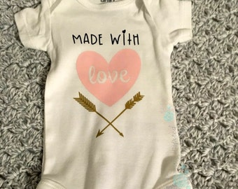 Made with love bodysuit, baby girl outfit, new baby gift, baby shower gift, gift for new mom, gift for the expecting, coming home outfit