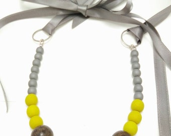 YELLOW EARL GREY - Graywood Matte Yellow Necklace with Ribbon Tie