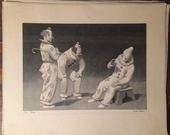 "Fermin Rocker ""Circus Clowns"" - Lithograph Signed and Titled in Plate"
