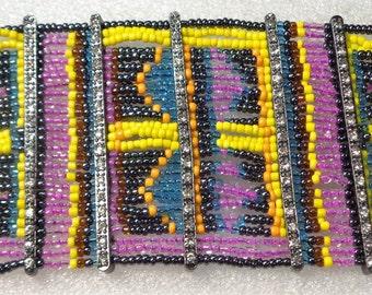SALE **** Vintage Colorful Springtime Multi Row Seed Bead Toggle Bracelet with Rhinestone Accents
