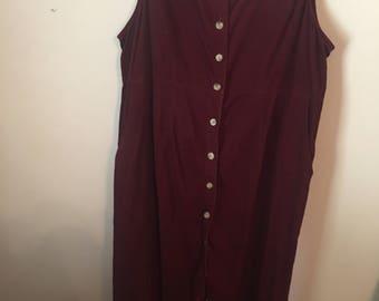 Vintage Corduroy Maroon Maxi Dress Size M/L