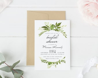 Printed bridal shower invitation, Boho Bridal Shower, Greenery bridal shower invitations| Boho Floral, printed or digital, personalized