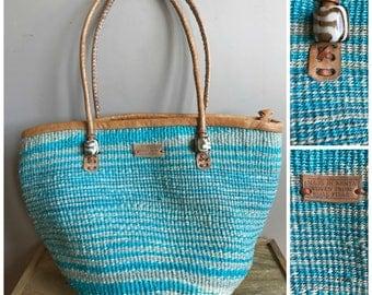 Vintage African Sisal Tote // Vintage Woven Sisal Bag Made in Kenya Aqua Blue Green Brown Leather  // Sisal Market Bag Bucket Bag